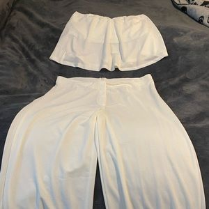Two piece white pant outfit